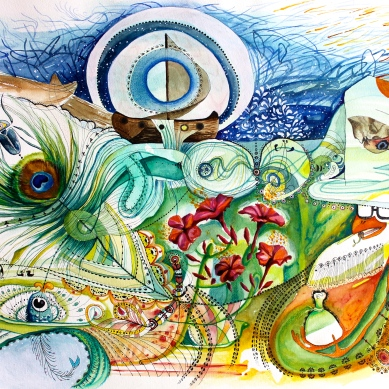 """Albeggia quasi"" watercolor and acrylic on paper"