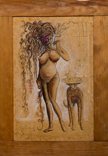 """Il profilo di Venere"" Acrylic and pastels on wood (200)"