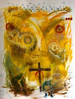 """Muro intero, Titolo:""""L'universo angosciato, cerca nella compulsione del suo ventre, barlumi di speranza"""""""