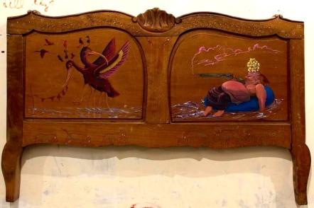 Intervento arte testata letto portoghese abbandonata - Lisbon 2016