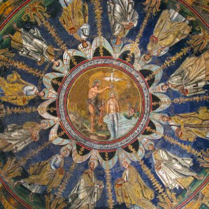 mosaico. Giovanni battista battezza Gesù. Battistero degli Ortodossi ( V sec dc) Ravenna