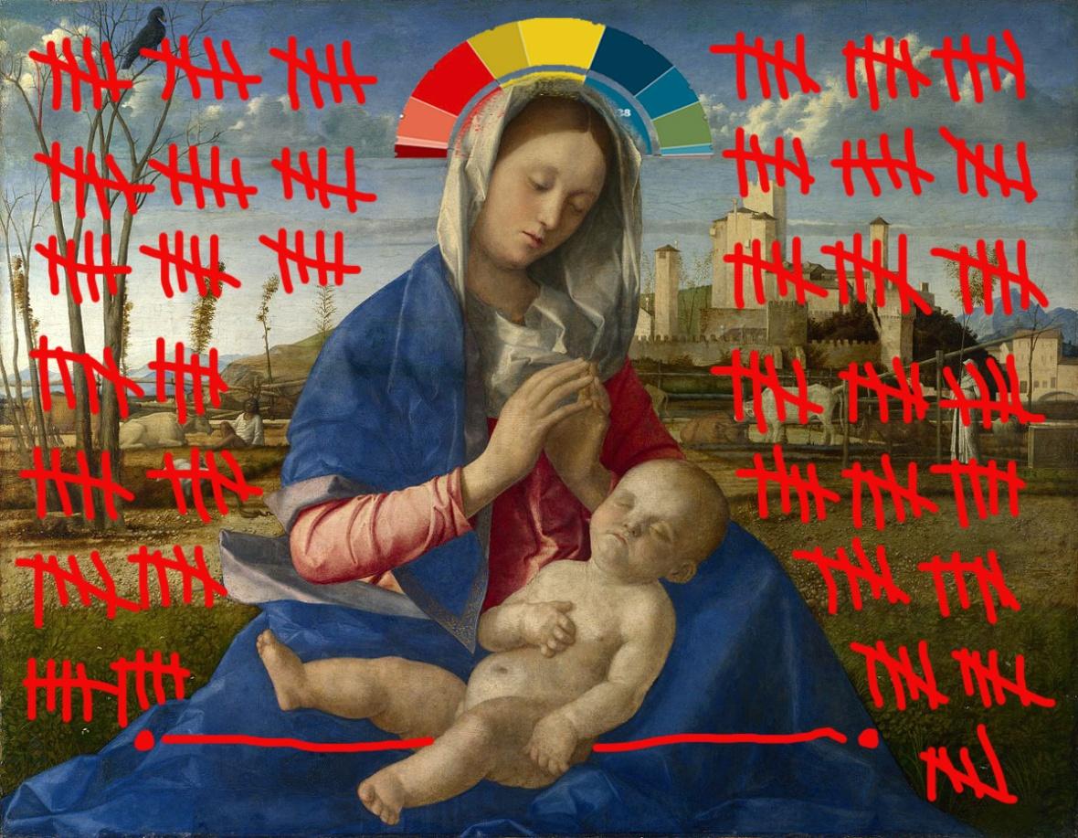 intervento Bacco Artolini su dipinto Giovanni Bellini