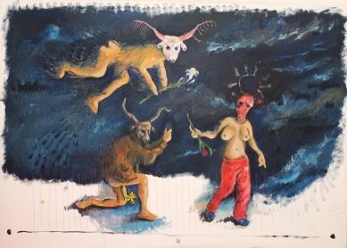 painting Bacco Artolini masks Ravenna