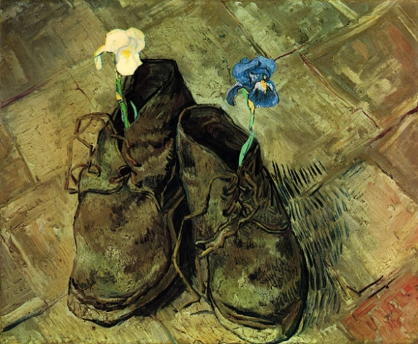 Van Gogh painting shoes intervention
