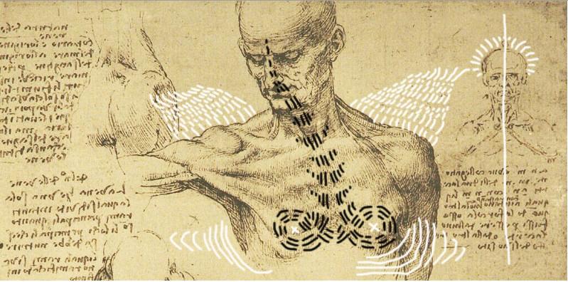 intervento Bacco Artolini su studio anatomico di Leonardo Da Vinci (1500 circa)