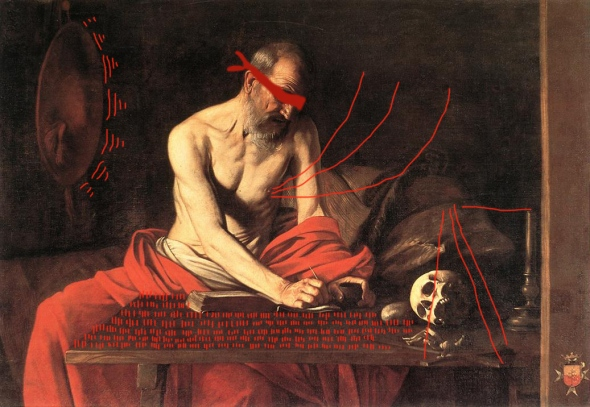 Caravaggio intervention Bacco Artolini Girolamo