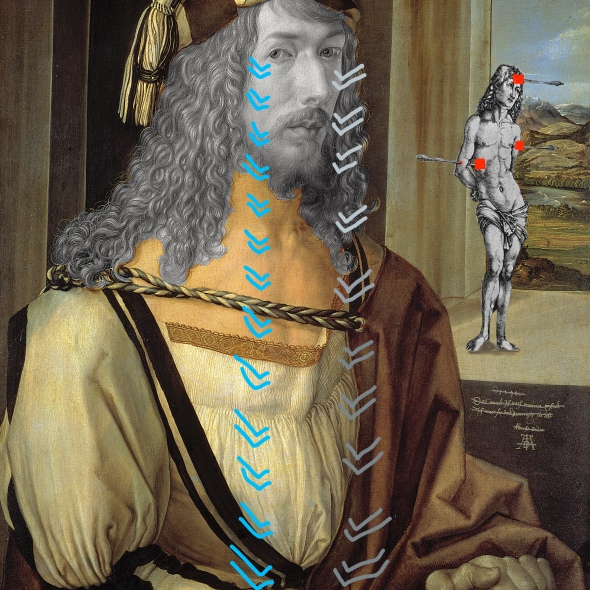 Albrecht Durer Bacco Artolini intervention self-portrait painting