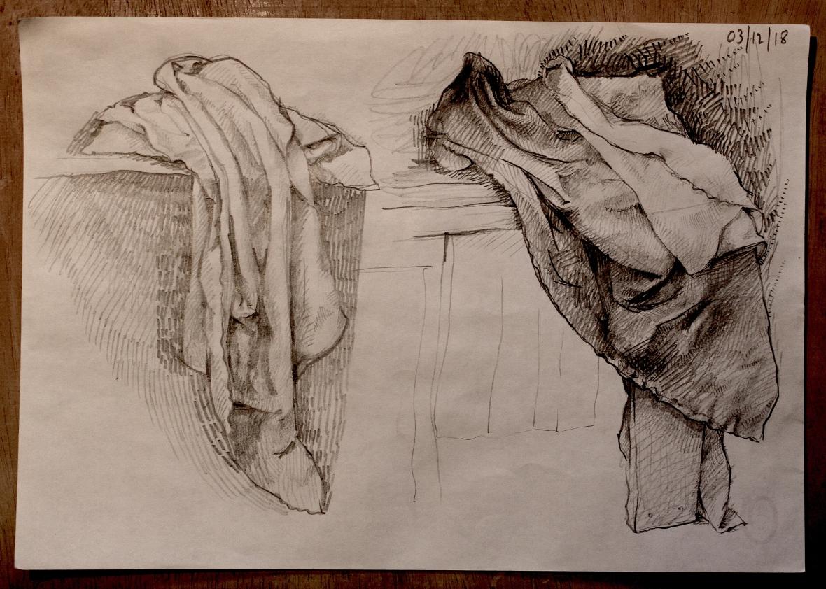 sketch Bacco Artolini panneggio study artist