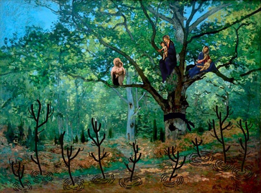 Cloude monet- la quercia di bodmer foresta di Fontainbleau ( 1865) copy
